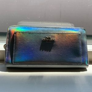 Coach Silver Hologram Leather Accordion Zip Wallet